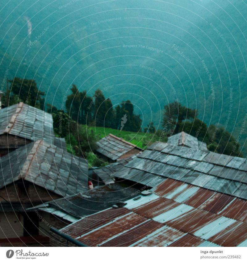 Tief in den Bergen Natur blau grün Ferien & Urlaub & Reisen rot Einsamkeit ruhig Haus Wald Umwelt Landschaft Berge u. Gebirge Wege & Pfade Metall Armut Dach