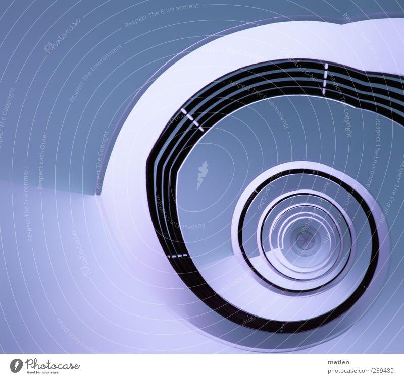 volution blau weiß schwarz kalt außergewöhnlich Treppe ästhetisch Stern (Symbol) Mitte Treppengeländer Treppenhaus drehen Windung hell-blau Bildbearbeitung Verwirbelung