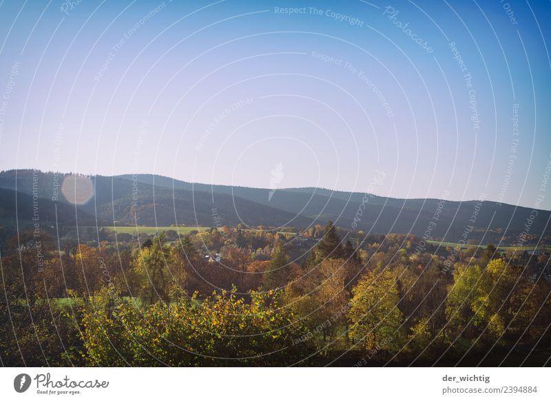 Saaletal - ein Landschaftsfoto Himmel Natur Ferien & Urlaub & Reisen blau Sommer schön grün Sonne Baum Erholung Ferne Wald Berge u. Gebirge Umwelt Gras