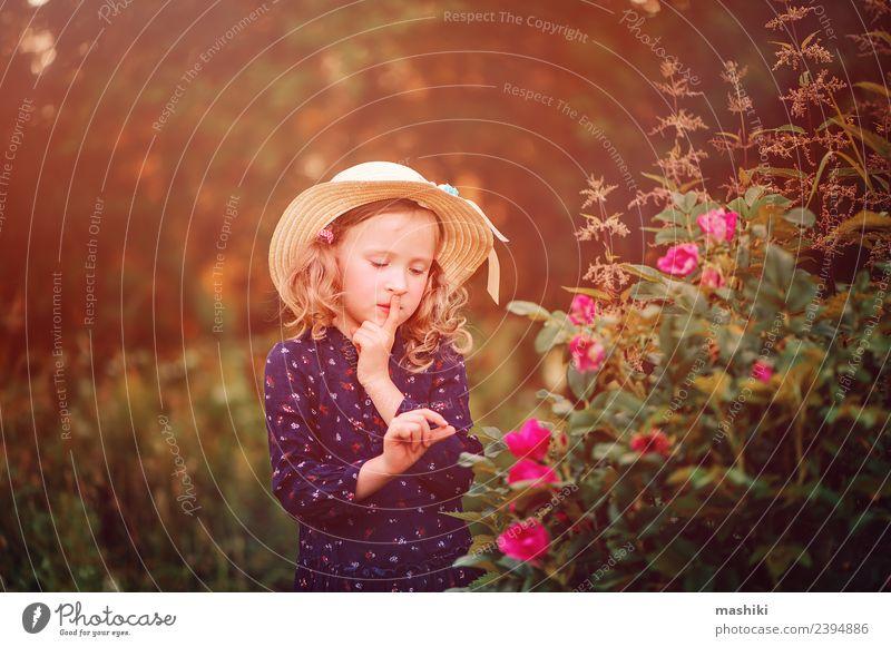verträumtes Kind auf Sommerspaziergang Lifestyle Gesicht Erholung Ferien & Urlaub & Reisen Sonne Garten Frau Erwachsene Kindheit Natur Wärme Blume Blatt Wald
