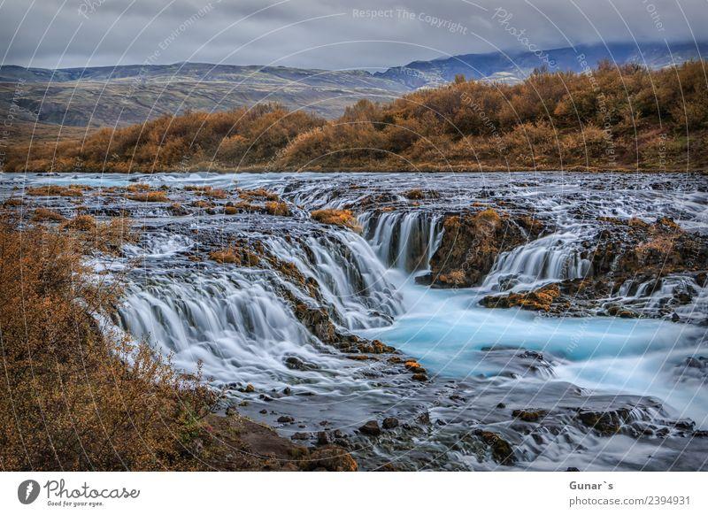 Bruarfoss in Island_001 Ferien & Urlaub & Reisen Wasser Landschaft Erholung ruhig Ferne Berge u. Gebirge natürlich Tourismus außergewöhnlich Freiheit Ausflug
