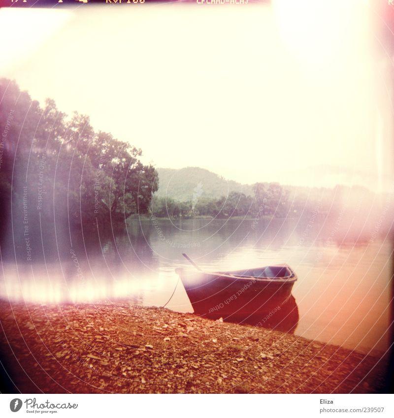 Once upon a time ... Wasser Baum ruhig Nebel leer Seeufer fantastisch Flussufer Holga mystisch Lomografie Wasserfahrzeug Ruderboot traumhaft Lichterscheinung