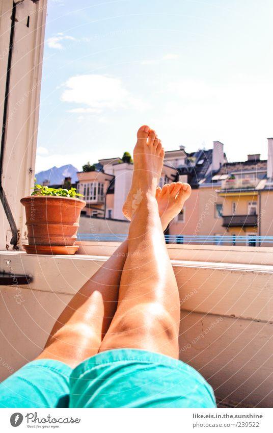 feiertag! mmmmh! Sommer ruhig Erholung Fenster Beine Fuß Zufriedenheit maskulin schlafen Hose Balkon Lebensfreude genießen Wohlgefühl Langeweile Sommerurlaub