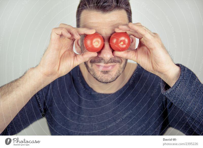 Tomaten auf den Augen Mensch Jugendliche Mann Junger Mann Erwachsene Lifestyle Leben Gesundheit lustig Business Kunst Lebensmittel Schule maskulin lernen
