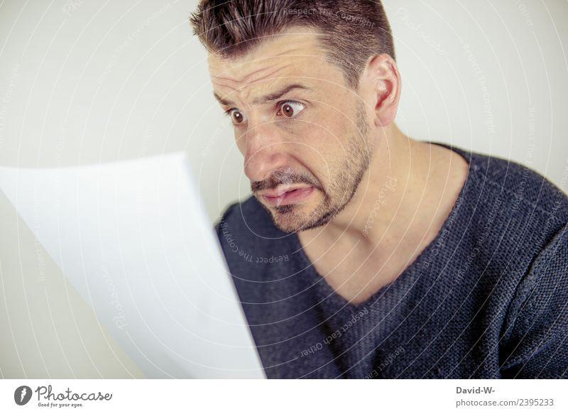 doch so teuer?! Mensch Jugendliche Mann Junger Mann Gesicht Erwachsene Leben Stil Business Kopf maskulin lernen kaufen Geld lesen Todesangst