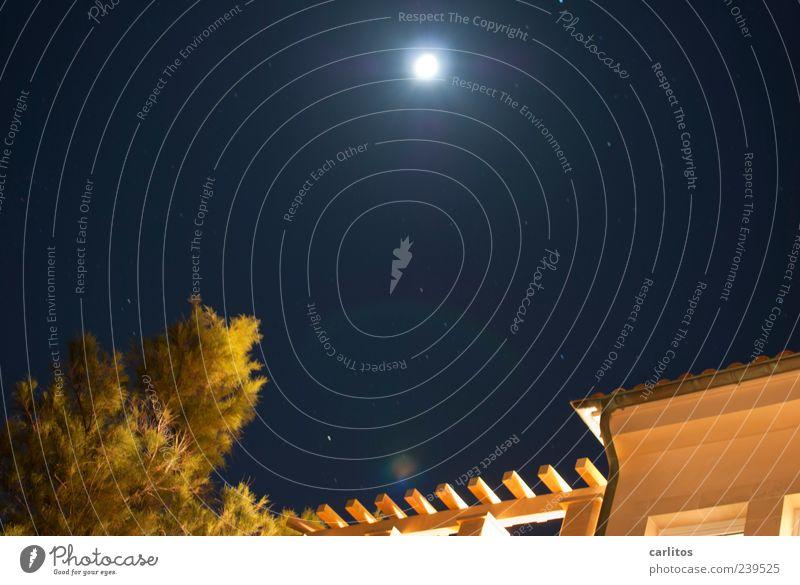 Dunkel war's ... Himmel Ferien & Urlaub & Reisen Baum Sommer Haus Wand Mauer Fassade Stern leuchten Dach Sträucher Schönes Wetter Säule Mond eckig