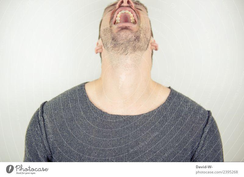 schreien Mensch Jugendliche Mann Junger Mann Freude Erwachsene Lifestyle Leben Business maskulin authentisch verrückt lernen Studium Bildung Beruf