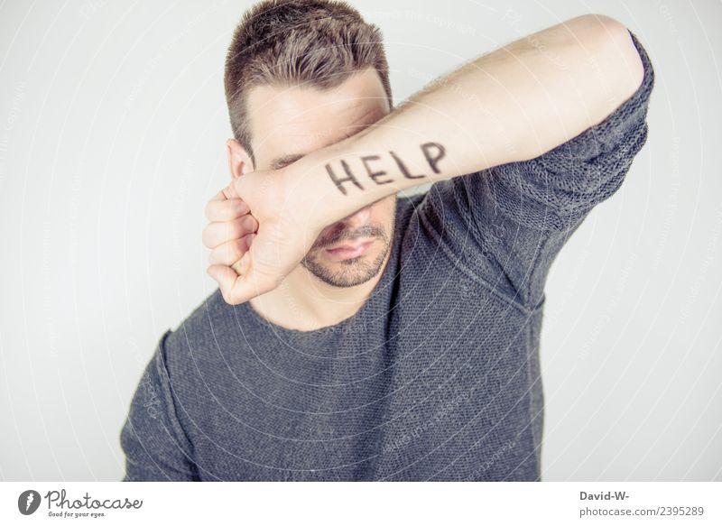 HELP Mensch Jugendliche Mann Junger Mann Gesicht Erwachsene Leben Gesundheit Traurigkeit Gefühle Business Angst maskulin Arme Studium Hilfsbereitschaft