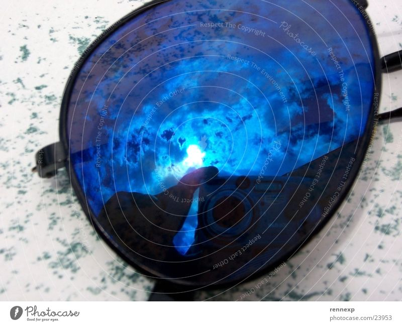 Brille & Himmel 1 Sonne blau Wolken glänzend Freizeit & Hobby Strahlung Sonnenbrille schlechtes Wetter