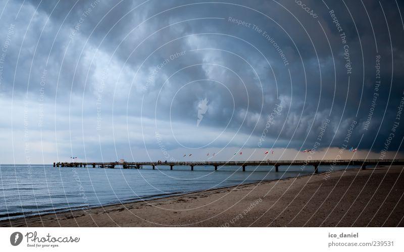 Wetterwechsel Ferien & Urlaub & Reisen Ausflug Meer Landschaft Wasser Himmel Wolken Gewitterwolken Sommer schlechtes Wetter Wind Sturm Küste Strand Ostsee