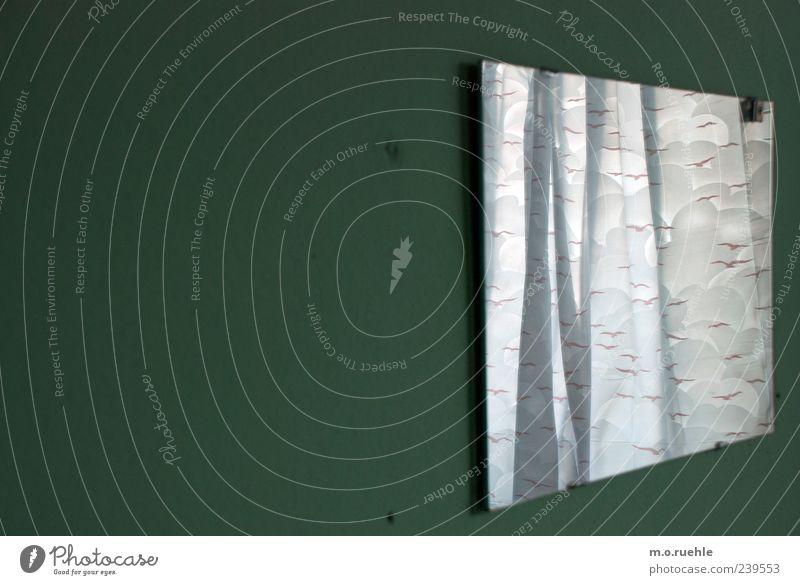 als wir uns sahen wehte der wind die vögel durch den raum Spiegel Bad Vogel ästhetisch grün Vorhang Dusche (Installation) ausdruckslos Farbfoto Innenaufnahme