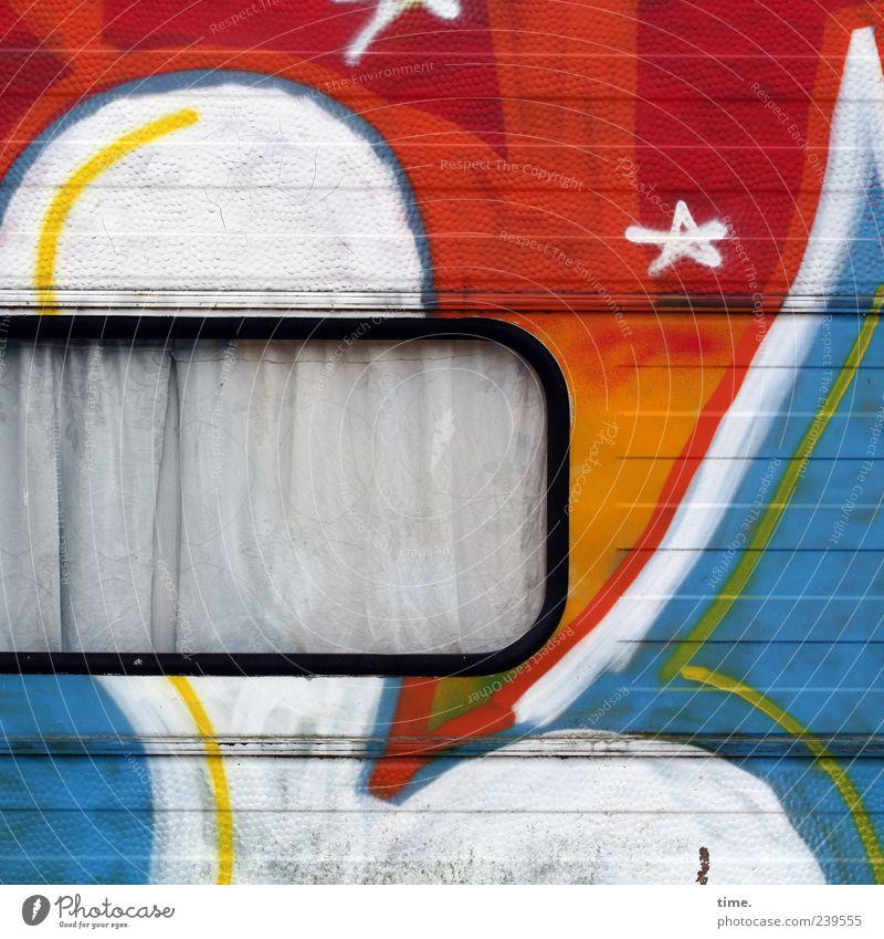 Luv'n Peace'n so | #2 Kunst Verkehrsmittel Wohnwagen Lack Streifen ästhetisch einzigartig blau gelb rot weiß bizarr Farbe geheimnisvoll Idee Nostalgie