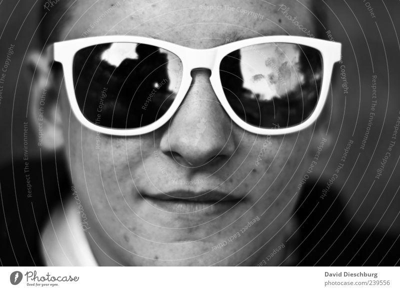 O-O Mensch Jugendliche weiß Sommer schwarz Erwachsene Gesicht Leben Kopf Junger Mann Mund 18-30 Jahre Nase Coolness retro einzeln