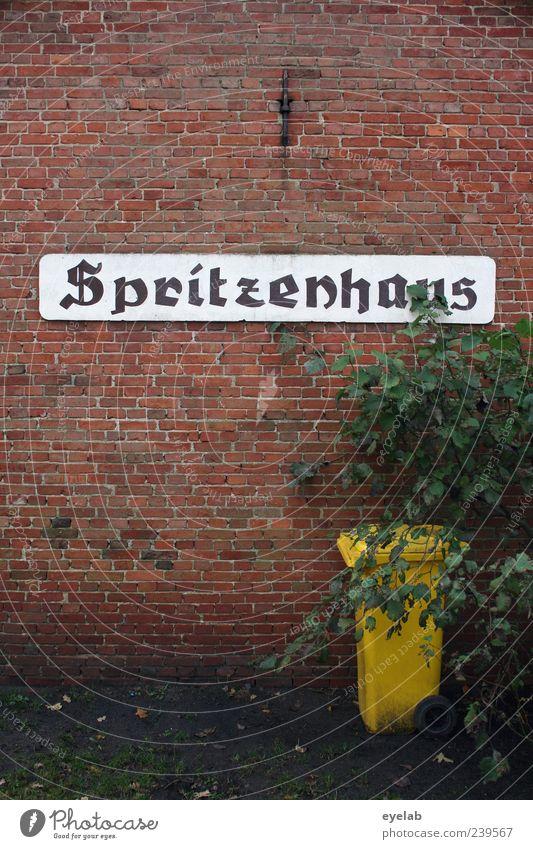 Das ist spritze ! alt rot Pflanze Haus gelb Wand Mauer Gebäude Fassade Schilder & Markierungen Schriftzeichen Sträucher retro Zeichen Bauwerk Backstein