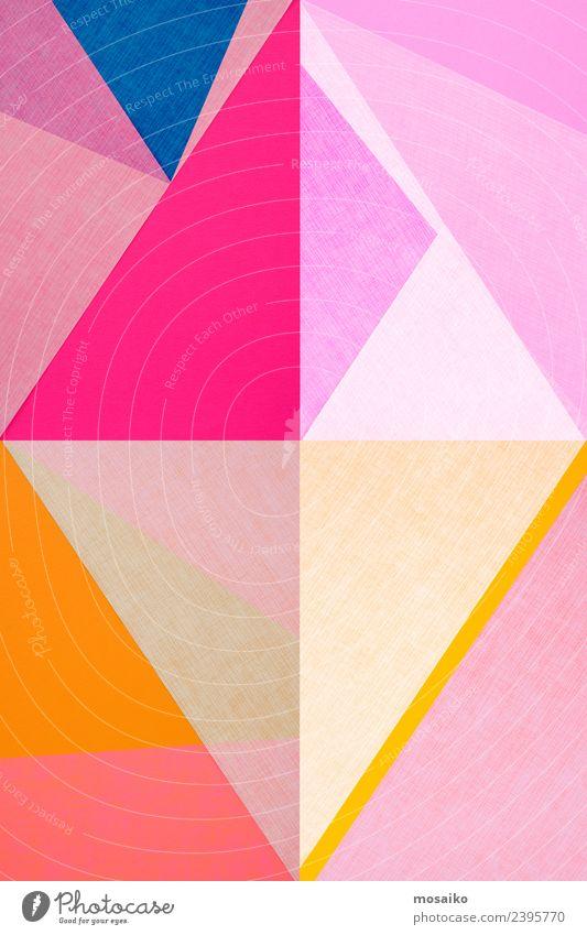 geometrische Formen auf Papierstruktur elegant Stil Design Freude Kunst Kunstwerk Mode ästhetisch Zufriedenheit Kitsch Popmusik Farbe Strukturen & Formen rosa