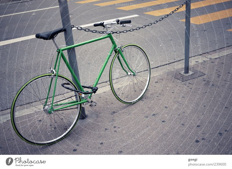 Eingangrad IV grün Straße grau Fahrrad Schilder & Markierungen Asphalt Bürgersteig parken Straßenrand Verkehrsschild Wege & Pfade Verkehrszeichen Zebrastreifen