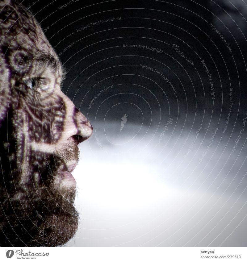 Strukturiert Denken Mensch Mann ruhig Erwachsene Gesicht dunkel Gefühle Stimmung außergewöhnlich maskulin nachdenklich Glaube Bart Gesichtsausdruck ernst Schattenspiel