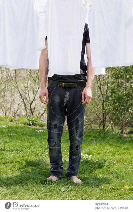 Kleiderständer Mensch Natur ruhig Erholung Umwelt Wiese Leben Garten Stil elegant stehen Lifestyle Pause einzigartig Idylle Sauberkeit