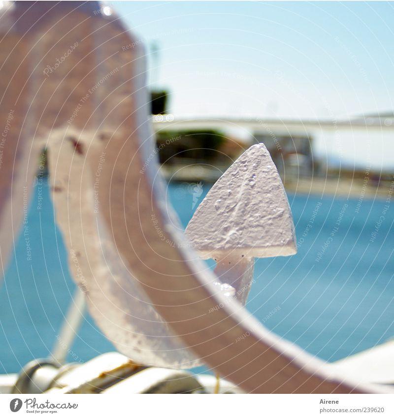 immer geradeaus Ferien & Urlaub & Reisen Sommerurlaub Meer Segeln Wasser Himmel Küste Bucht Fischerdorf Schifffahrt Motorboot Anker Metall Pfeil positiv