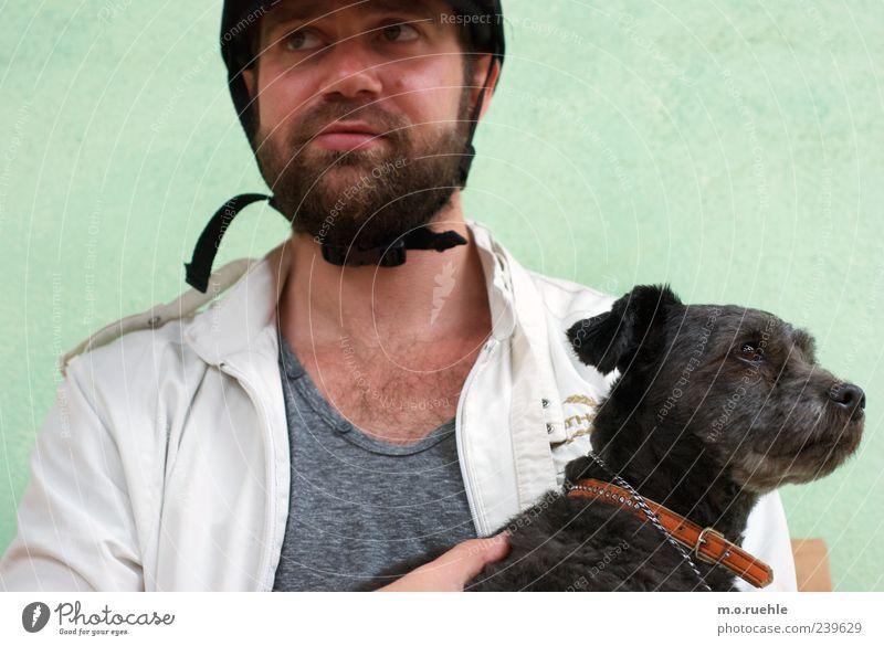 Schwarze Schafe Freizeit & Hobby Reitsport Mensch maskulin Haut Kopf Gesicht Nase Mund Bart 1 Hut Vollbart Brustbehaarung Tier Haustier Hund Partnerschaft Stolz