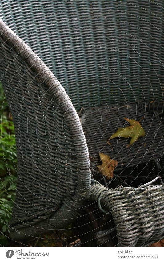 Alterungsprozess Sessel Herbst Blatt Herbstlaub Korbstuhl alt kaputt trist grau Sitzgelegenheit Sperrmüll wegwerfen Gedeckte Farben Außenaufnahme verfallen