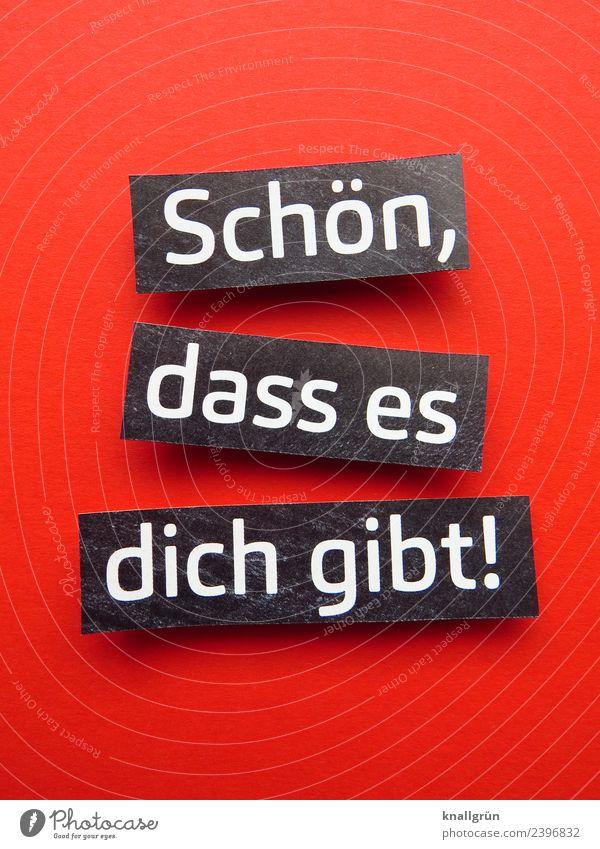 Schön, dass es dich gibt! schön weiß rot schwarz Liebe Gefühle Glück Zusammensein Freundschaft Zufriedenheit Schriftzeichen Kommunizieren