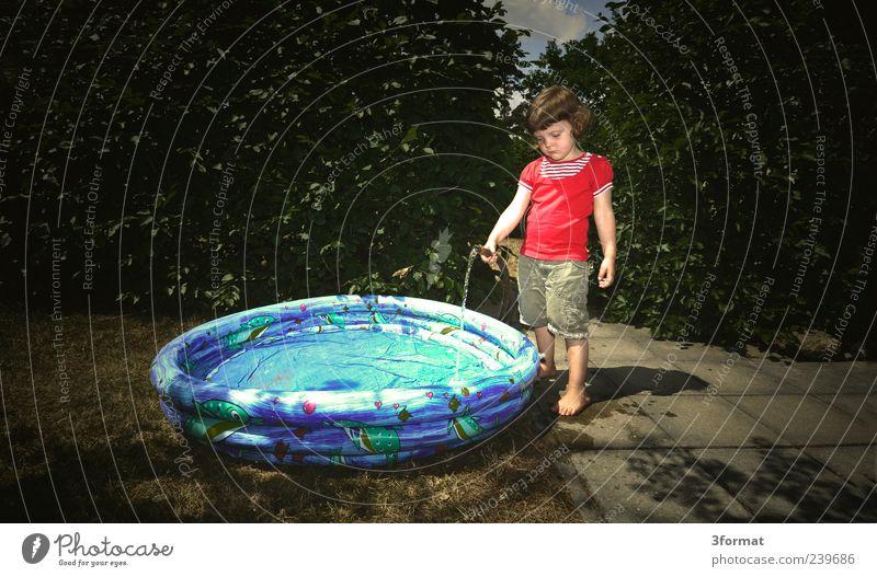 IDYLLE Mensch Kind Ferien & Urlaub & Reisen schön Sommer Mädchen Wiese Leben Spielen klein Garten Schwimmen & Baden Kindheit Freizeit & Hobby stehen trist