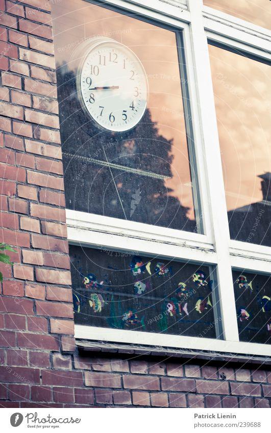 Wer hat an der Uhr gedreht? Haus Schule Schulgebäude Himmel Mauer Wand Fenster Beginn Ende Präzision stagnierend Vergänglichkeit Zeit Zifferblatt alt vergangen