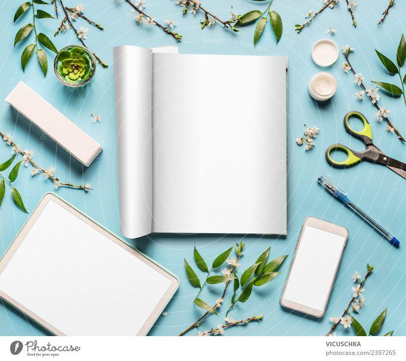 Zeitschrift, Tablett PC und Handy mock up schön Hintergrundbild feminin Stil Business Design Büro Computer Dinge Bildung Internet Beautyfotografie trendy Medien