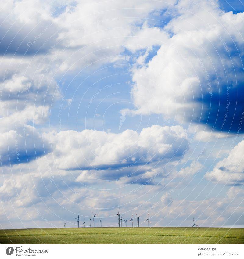 Der Lichtblick Umwelt Natur Landschaft Himmel Wolken Sommer Wiese Hügel drehen nachhaltig blau grün Klima Windkraftanlage Windrad Erneuerbare Energie