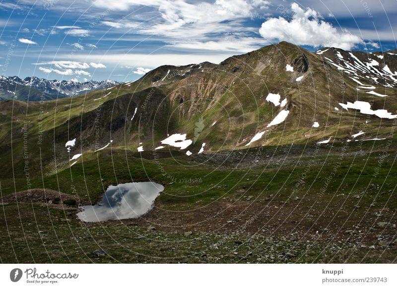 Sommer im Gebirge Himmel Natur blau grün Sommer Erholung Umwelt Landschaft Schnee Berge u. Gebirge Freiheit grau Eis Felsen wild groß