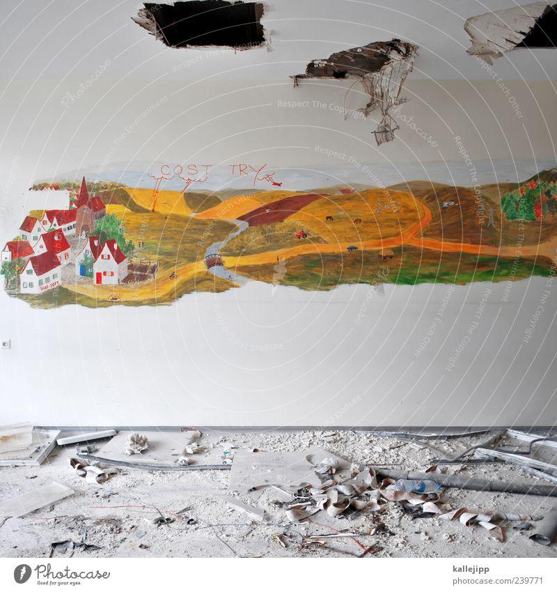 in heaven Kunst Natur Landschaft Wolken Feld Dorf Haus Kirche Mauer Wand kaputt Gemälde Wandmalereien Baustelle Loch Durchbruch Widerspruch Gegenteil Kontrast