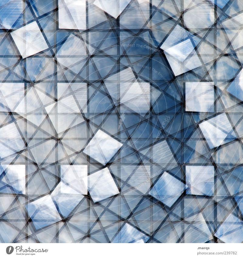 Cloudy Stil Fenster Glas Linie außergewöhnlich einzigartig verrückt blau bizarr chaotisch Ordnung Perspektive skurril Fliesen u. Kacheln Mosaik Doppelbelichtung