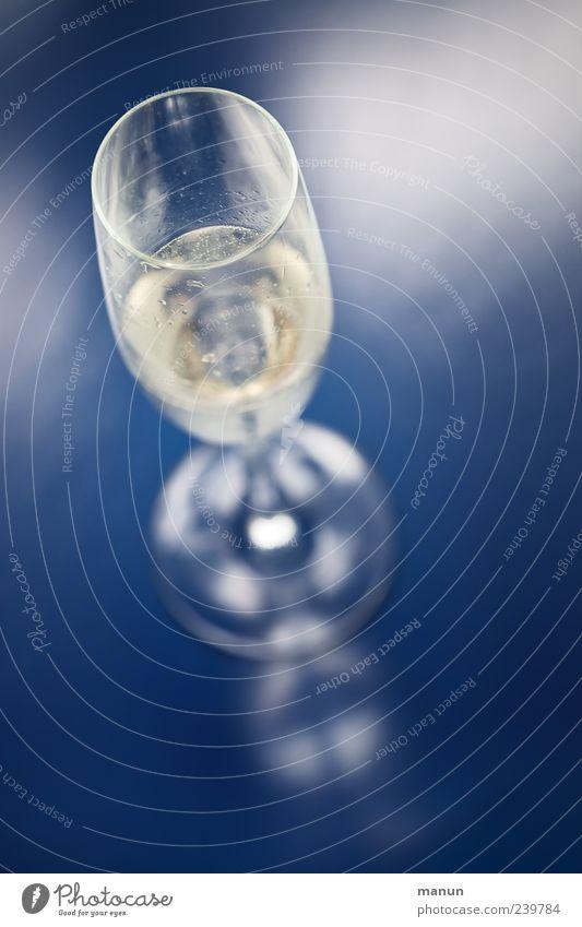 Sekt blau kalt Feste & Feiern Glas frisch authentisch stehen Lifestyle Getränk Wein einfach rein Flüssigkeit genießen Lebensfreude lecker