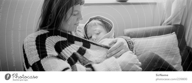 162 [Mutter & Kind] Mensch Jugendliche schön ruhig Erholung Junge Frau Erwachsene Liebe Wärme sprechen natürlich träumen Zusammensein Kindheit Wohnung