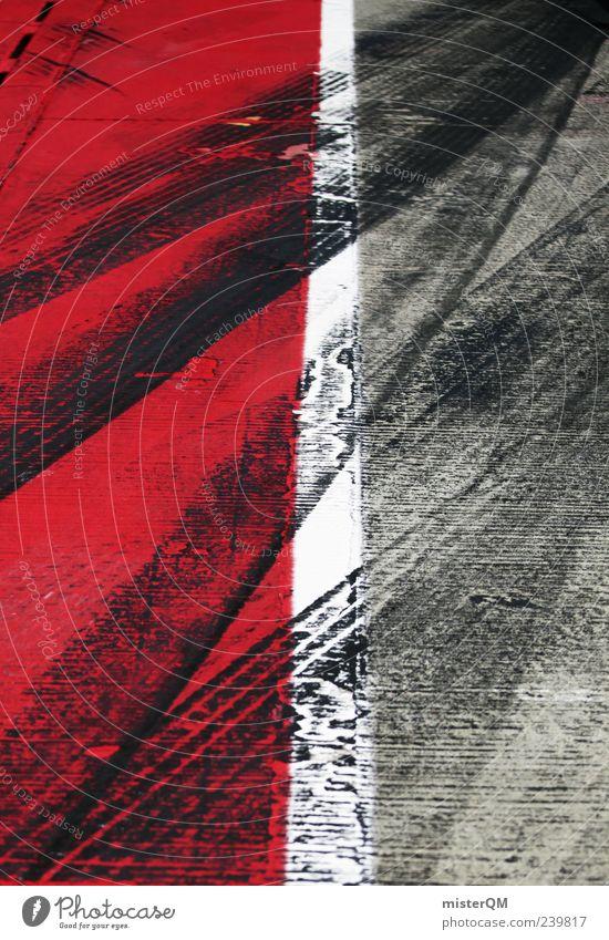 Pure Driving. rot grau Beginn Verkehr ästhetisch Spuren Asphalt Verkehrswege Reifenprofil abstrakt Reifenspuren Abdruck Linie Ziellinie Markierungslinie