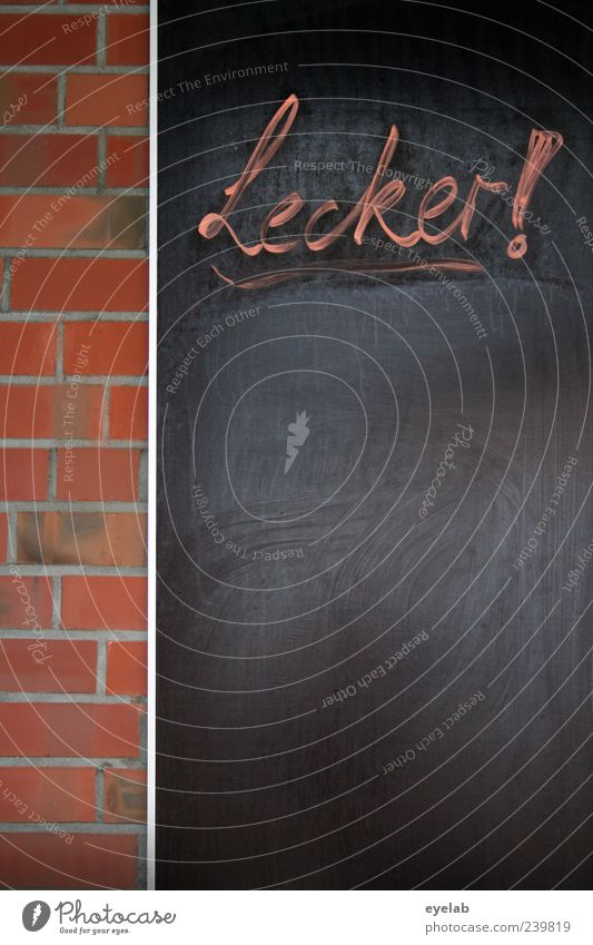 ..aber was ? rot schwarz Wand Stein Mauer Metall Fassade Schilder & Markierungen Schriftzeichen Zeichen Bauwerk Backstein Gastronomie Werbung Tafel lecker
