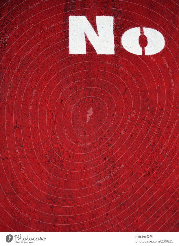 No. Kunst ästhetisch rot rotglühend Warnfarbe Verneinung Englisch englisch-rot Hinweis Zeichen stoppen widersetzen Asphalt weiß gegen Farbfoto Nahaufnahme