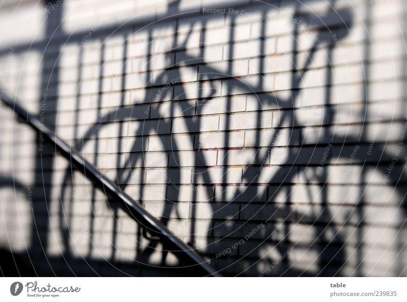 locked ruhig schwarz dunkel Wand grau Stein Mauer Metall Linie Fahrrad stehen einzigartig Treppengeländer parken silber Verkehrsmittel