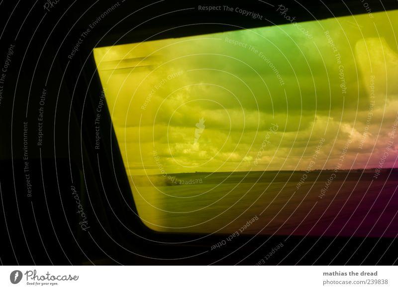 LSD-TRIP Himmel Natur grün Wolken Umwelt gelb Landschaft Fenster Wiese Gras Horizont Feld Abteilfenster ästhetisch fahren violett