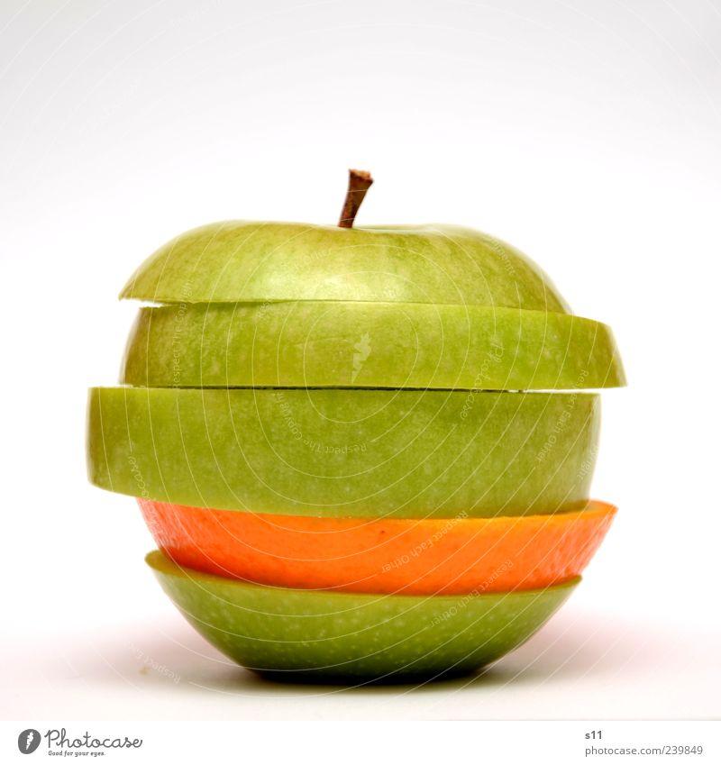 Vitaminbombe I Lebensmittel Apfel Orange Ernährung Bioprodukte Vegetarische Ernährung Diät exotisch Gesundheit modern saftig sauer schön grün Stengel