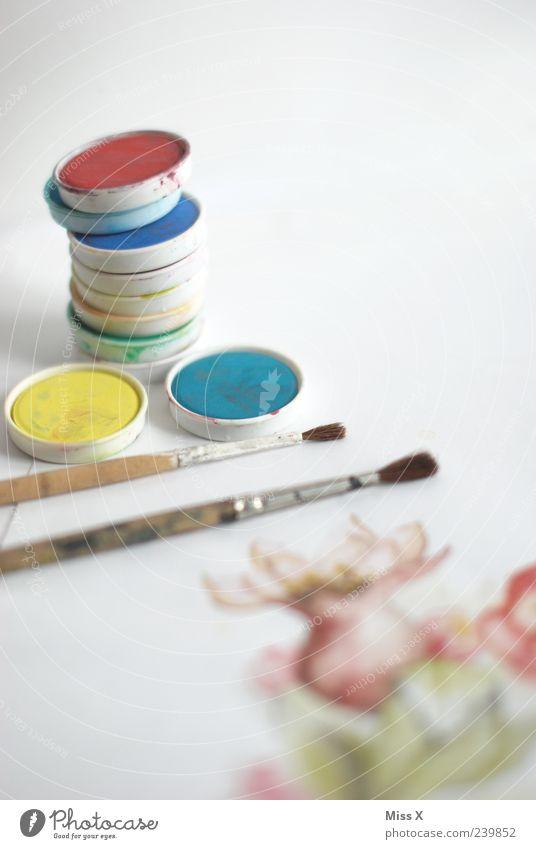 Farbig Freizeit & Hobby Kunst Gemälde zeichnen mehrfarbig Farbe Kreativität Pinsel Aquarell malen Farbfoto Nahaufnahme Menschenleer Textfreiraum rechts