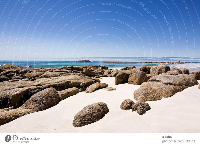 the art of travel Natur Landschaft Urelemente Sand Wasser Himmel Wolkenloser Himmel Horizont Sonnenlicht Klima Schönes Wetter Felsen Küste Strand Meer Stein
