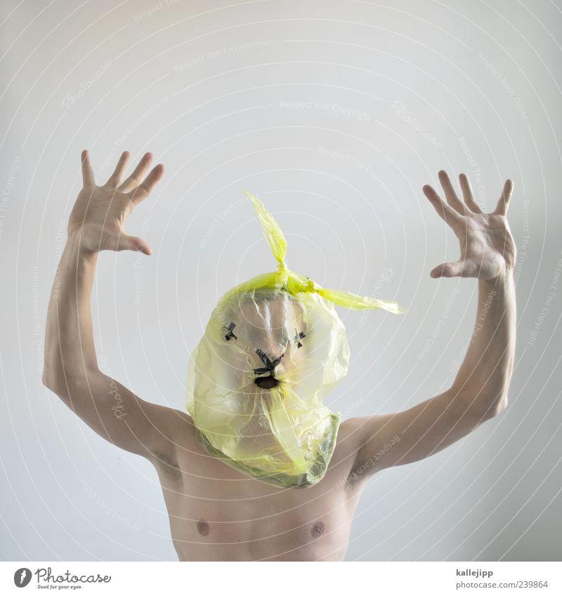 angsthase Mensch maskulin Mann Erwachsene Haut Kopf Brust Arme Hand Finger 1 Tier Tiergesicht gefährlich Unglaube verstört Plastiktüte Müllsack gelb Recycling