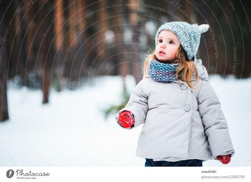 Baby Mädchen mit Strickmütze Wandern im Winterwald Lifestyle Freude schön Gesicht Spielen Ferien & Urlaub & Reisen Schnee Kind Kleinkind Kindheit Wetter Baum