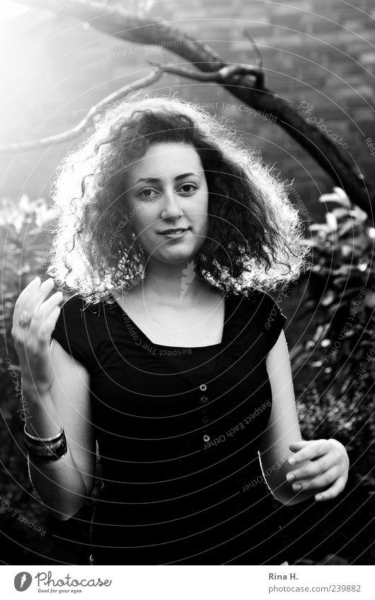 Junge Frau im Gegenlicht Mensch Jugendliche 18-30 Jahre Erwachsene T-Shirt Haare & Frisuren schwarzhaarig brünett langhaarig Locken leuchten authentisch schön