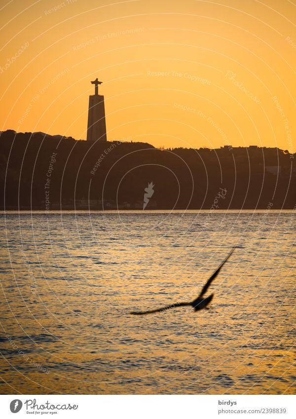 Cristo Rei, Lissabon Ferien & Urlaub & Reisen Städtereise Skulptur Wolkenloser Himmel Sonnenaufgang Sonnenuntergang Fluss Tejo Sehenswürdigkeit Wahrzeichen