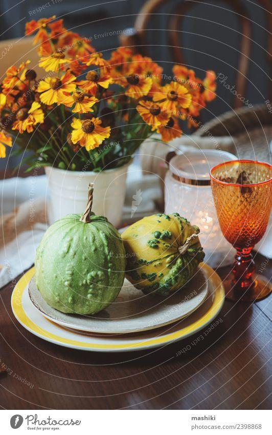 herbstliche traditionelle Tischdekoration für Thanksgiving Gemüse Abendessen Dekoration & Verzierung Feste & Feiern Erntedankfest Halloween Herbst Blume Blatt