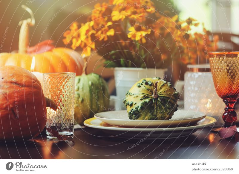 herbstliche traditionelle Tischdekoration für Thanksgiving Gemüse Abendessen Teller Stil Dekoration & Verzierung Feste & Feiern Erntedankfest Halloween Herbst