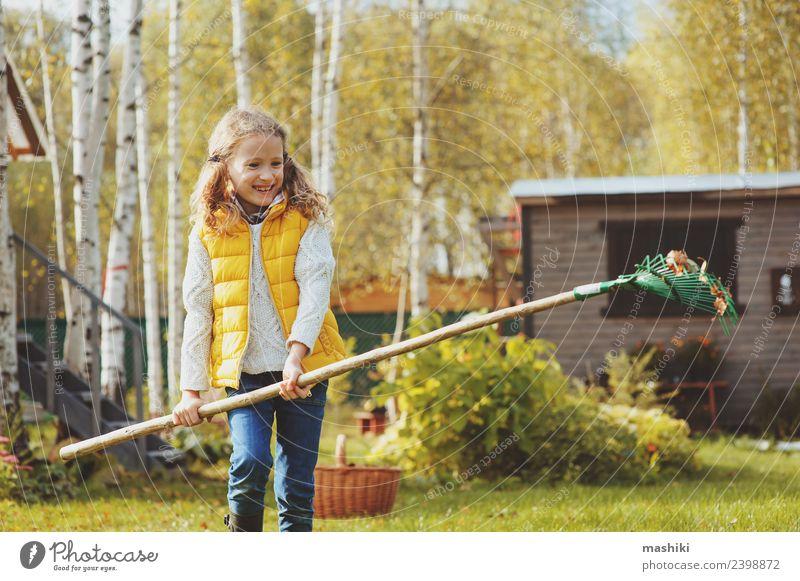 glücklich Kind Mädchen rechend Herbstlaub Freude Spielen Garten Arbeit & Erwerbstätigkeit Gartenarbeit Werkzeug Baum Gras Blatt natürlich gelb Hilfsbereitschaft